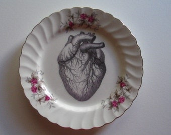 Victorian Era Illustration-Atomical Heart on Vintage Plate-Artist Altered Plate