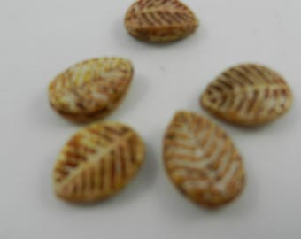 12x16mm Czech pressed glass leaf bead brown alabaster color 5 pieces 2709