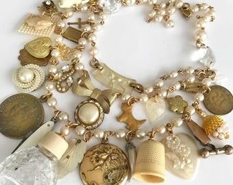 Vintage Charm Necklace, Vintage Vanity, Perfume, lipstick  - Yellow