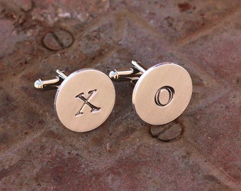XO Cuff Links Valentines Gift For Him, Hand Stamped
