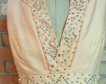 Vintage 60s Maxi Dress:  Rhinestones and Pearls, Peach