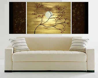 ORIGINAL Abstract Modern Zen Painting Gold Red Flowers Cherry Blossoms Triptych Metallic Home Decor by Heather R Lange Made To Order