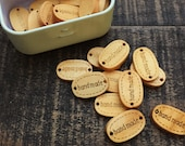 Tea-stained 'handmade' wooden tags, wooden buttons, sewing accessories