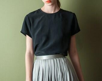 black silk short sleeve tee / silk boxy blouse / minimalist t shirt / s / 1925t / B18
