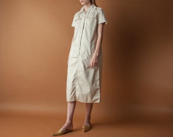 60s cotton safari trench dress / utilitarian dress / beige midi dress / s / 1327d / B8