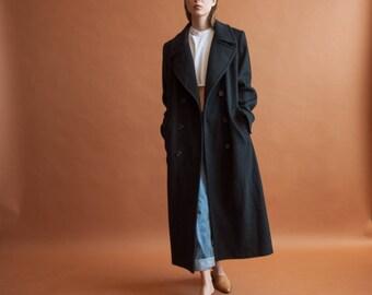 pure wool black oversized overcoat / long black coat / classic simple coat / s / m / 2188o / R3