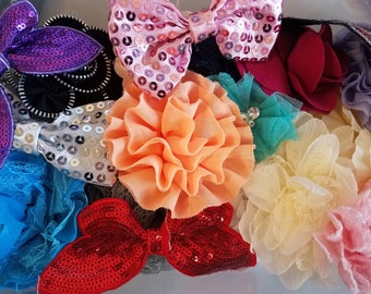 30 to 35 pieces - Sampler Pack (Random Mixed) - Flowers, Bows, and Appliques - Hairbows, Clippies and Hats