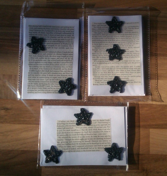 Literary Greeting Cards - black and silver stars - Wuthering Heights by Bronte - A Christmas Carol by Dickens