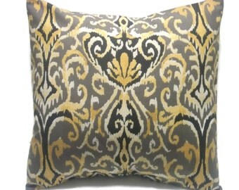 Decorative Pillow Cover Ikat Design Black Taupe Ivory Gold Same Fabric Front/Back Toss Accent Throw 18x18 inch  x