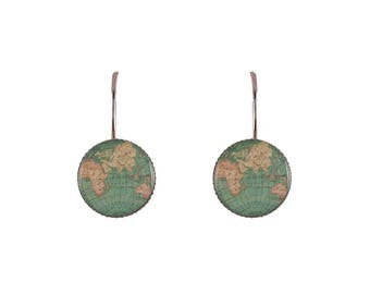 Small world map print earrings