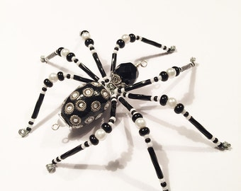 Claire - black and white glass beaded spider goth sun catcher - Halloween decoration - Christmas ornament