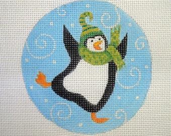 Handpainted needlepoint canvas Dancing Penquin