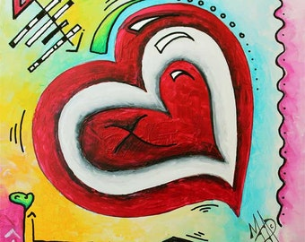Original Contemporary Colorful Abstract Heart Painting Mini PoP Art Resin Art Gloss Finish by Megan Duncanson© Internal Love - FREE SHIPPING