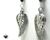 Goth Punk Rock Silver Angel Wing and Black Rose Earrings