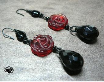 Elegant Gothic Red Rose and Black Teardrop Earrings