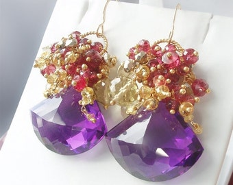 Valentines Day Sale - Custom Made to Order - 14k Gold Amethyst Earrings with Yellow Sapphire, Red Spinel, Citrine, and Gold Pyrite
