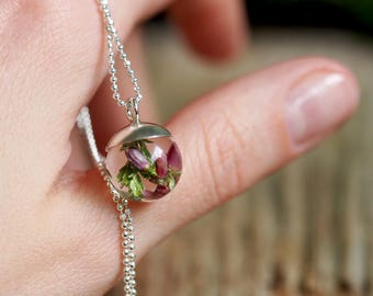 Mini Pink and Purple Heather Resin Pendant on Silver Chain, Silver Pendant, Resin Jewellery, Botanical Necklace, Romantic Jewelry
