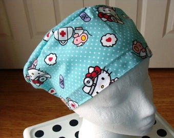 Doctor Hello Kitty Sprite..............Surgical Hat....Bakers Hat....Chemo Hat