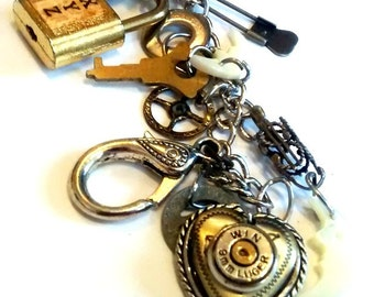 Vintage Treasures  Charm Bracelet  artisan jewelry recycle upcycle treasures  found objects