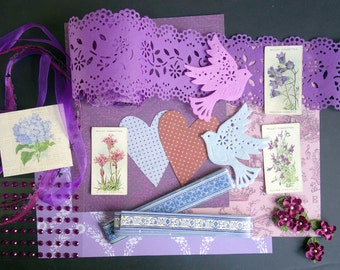 Purple mixed media inspiration kit. Vintage papers and ephemera. Craft supplies for scrapbooks, paper craft, card making, art journals
