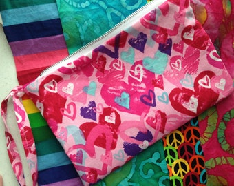 Zippy Wristlet / Pink, Teal and Purple Hearts