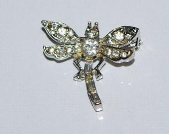 Vintage Rhinestone Dragonfly Brooch Pin  Silver