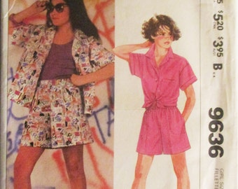 1980s Childs Sewing Pattern McCalls 9636 Girls Shirt & Shorts Pattern Size Medium Uncut