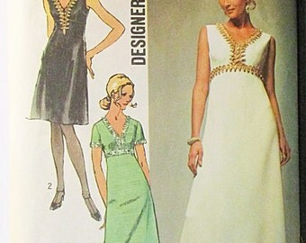 1970s Sewing Pattern Simplicity 9064 Misses Evening Dress Pattern Designer Fashion Size 12 Bust 34