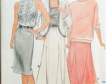 1980s Vintage Sewing Pattern Butterick 4448 Misses Skirt Pattern Size 12, 14, 16 Uncut