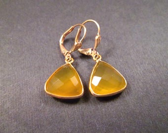 Gemstone Drop Earrings, Natural Yellow Chalcedony, Gold Dangle Earrings, FREE Shipping U.S.