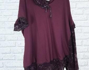 4X Ruffled Color block Tunic Shirt Eco Friendly Plus Recycled Fashion Plum Purple