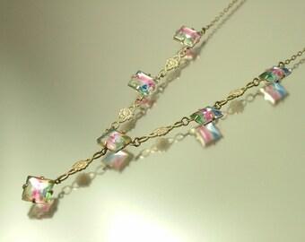 Vintage jewelry 1930s / 1940s Art Deco rainbow iris glass diamante rhinestone/ open back paste costume necklace -  jewellery