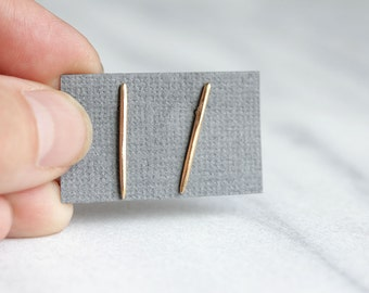 Spike Posts- Tapered Bar Earrings - Minimalist Edgy Studs made from Recycled Metal in Solid 14k Gold or Sterling Silver, Simple Fine Jewelry