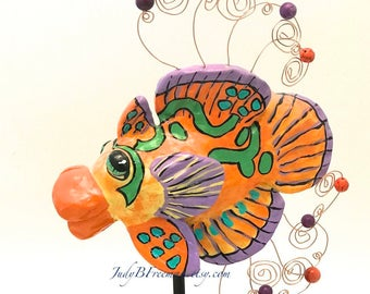 Fish Tabletop Sculpture with Stand Polymer Clay Mandarinfish Made to Order FS00032