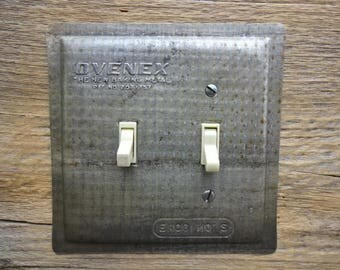 Antique Light Switch Cover Plate Kitchen Lighting Made From Vintage Metal Ovenex Bakeware Baking Pan Meatloaf Loaf Pans SP-0235