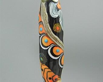 SRA HANDMADE LAMPWORK Glass Focal Bead Donna Millard orange black monarch butterfly moth statement jewelry her bohemian boho wearable art