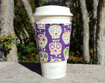 FREE SHIPPING UPGRADE with minimum -  Fabric coffee cozy / cup holder / coffee sleeve - Happy Sugar Skulls on Purple