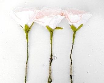 Cotton Wedding Anniversary Flowers set of 3 in Vintage pink