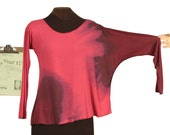 lush sunset asymmetric shirt in pinks purple maroon brown hand dyed