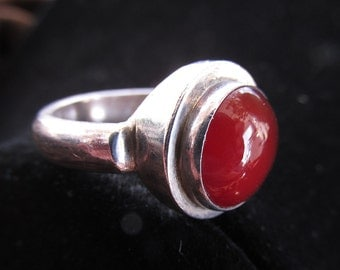 Vintage Sterling Silver Carnelian Ring Modernist Size 8.25  Heavy Solid Setting