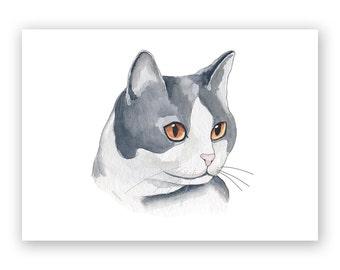 Black & White Cat - 8x10 Art Print