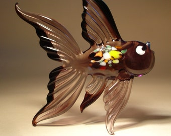 Handmade Blown Glass Art Figurine Black and Purple Exotic Fish