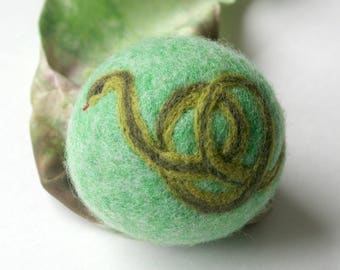 Waldorf Inspired Comet Ball: Garter Snake (All Natural Wool and Silk Toy)