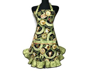 Luck of the Irish Apron for Women , Green , Gold and Black with retro style Ruffle , St Patrick's Day Kitchen Decor , Adjustable with pocket