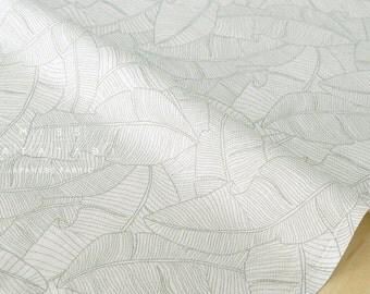 Japanese Fabric herringbone leaves - green, cream - 50cm