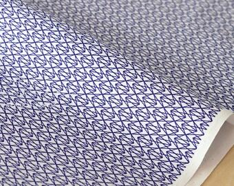 Japanese Fabric gem facets - navy blue, white - fat quarter