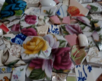 Supplies - Mosaic Tiles 200 - Chip - Shards - Bits- Pieces - Tiny Tiles - Fill Large Area Tessera