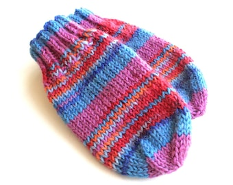 Baby Mittens Without Thumbs. Thumbless Knit Wool Winter Mitts. Infant Hand Warmers With Cord. Red and Blue No String, No Thumb Baby Mittens