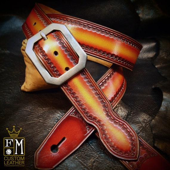 Leather guitar strap Hand tooled, Hand dyed Red cherry sunburst Custom made for YOU in Brooklyn by Freddie Matara!