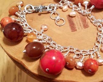 Orange Blossom gemstone chunky cha cha chain bracelet ... and it's adjustable too!